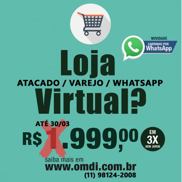 loja virtual atacado, varejo ou whatsapp, vamos ajudar você a vender On-line!